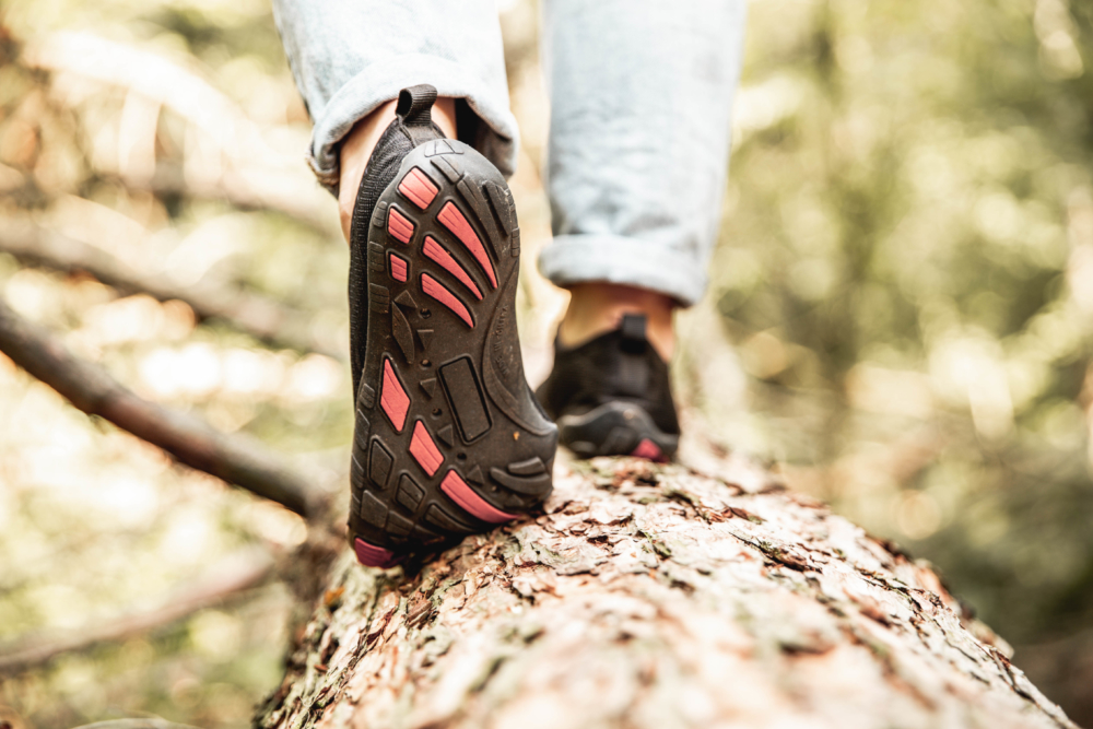 closeup barefoot water shoes